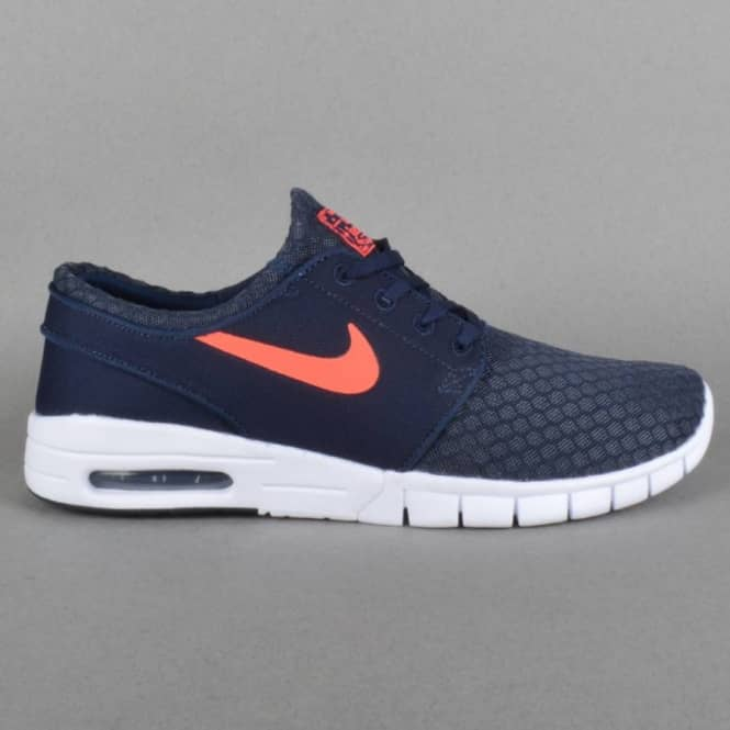 Janoski Max Skateboard Shoes - Obsidian/Hot Lava-White