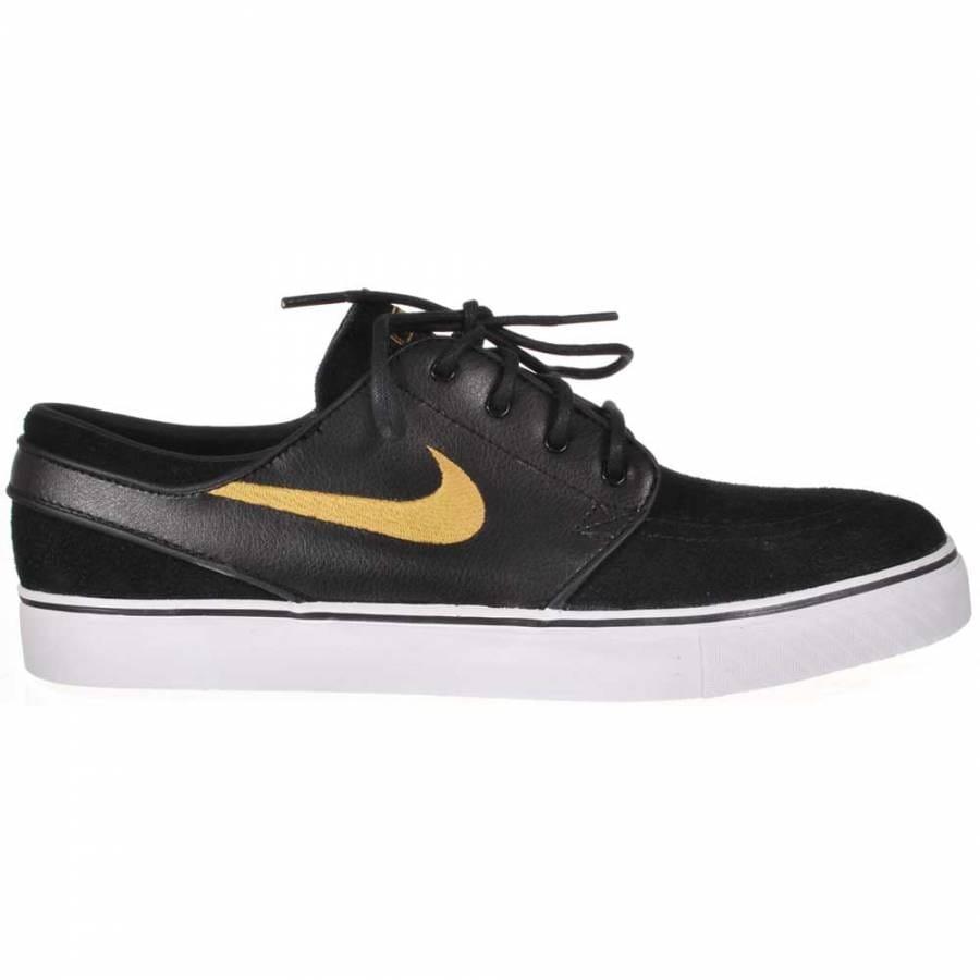 nike sb stefan janoski black metallic gold white skate