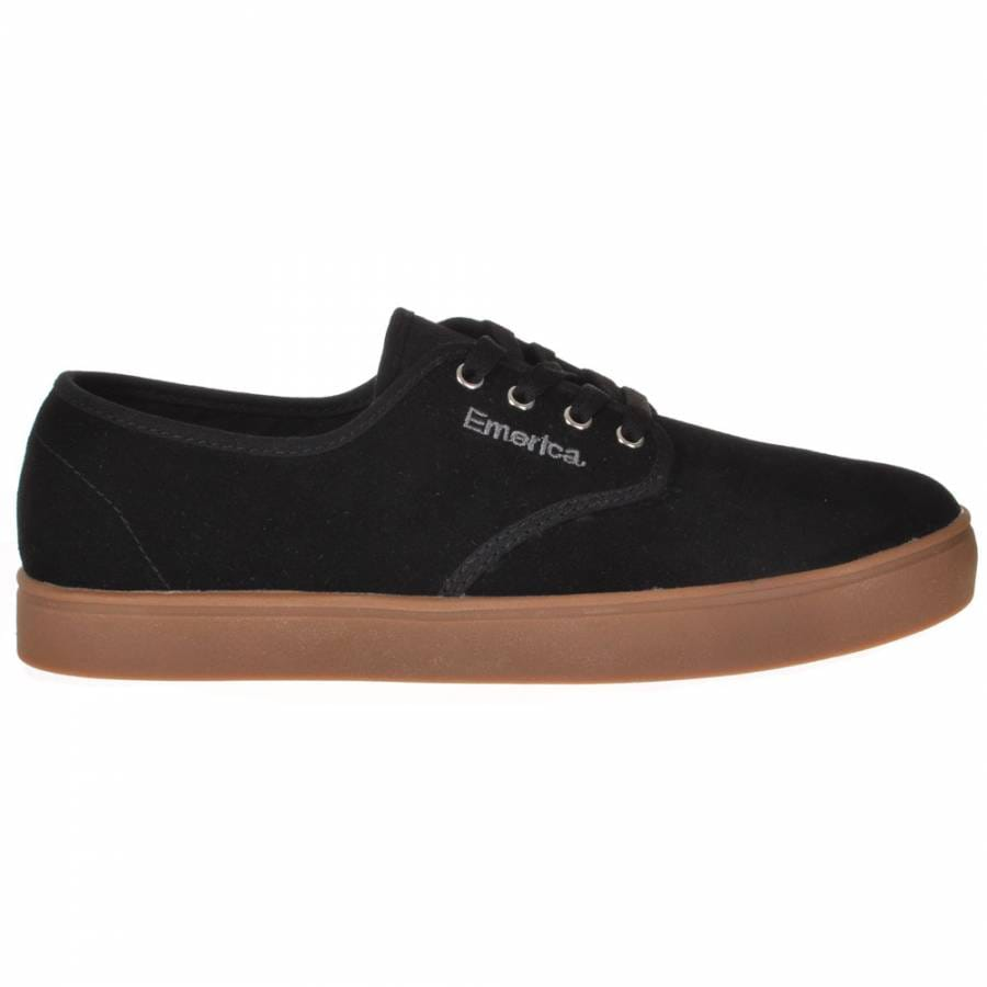 emerica laced black silver gum skate shoes